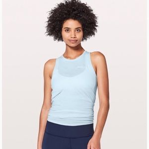 """Lululemon """"All Tied Up Tank Expression"""" Blue"""